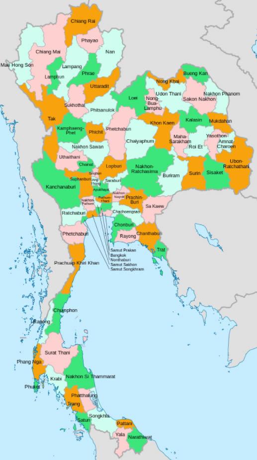 Les 76 provinces de Thaïlande