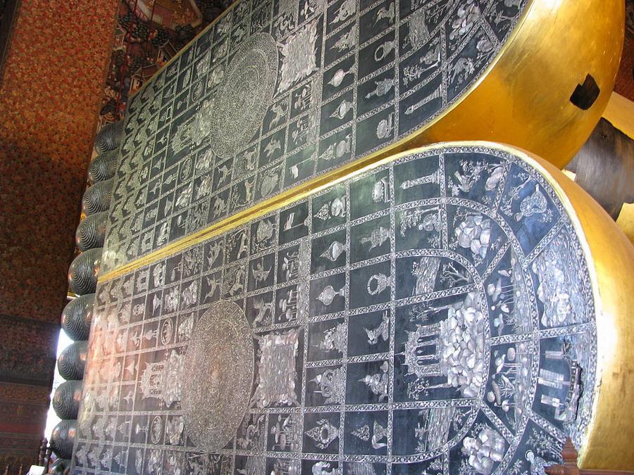 Les 108 états de Bouddha sur la plante des pieds de la statue